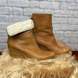Matisse fold-over Shearling lined wedge bootie